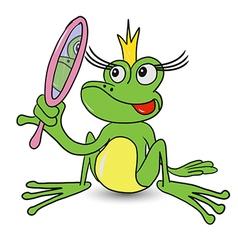 Frog princess with mirror vector