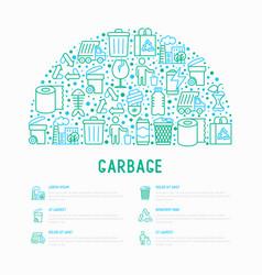 Garbage concept in half circle vector