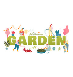 gardening concept gardeners planting and caring vector image