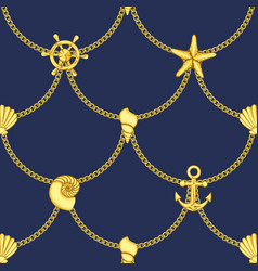 Golden chains and sea objects seamless pattern vector