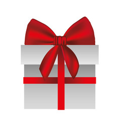 gray gift box with red ribbon vector image