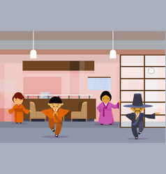 Group of asian business people wearing traditional vector