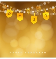 Hanukkah golden background with string lights vector