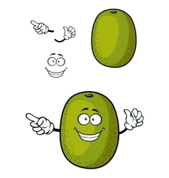 Happy cartoon kiwi fruit character with smile vector image
