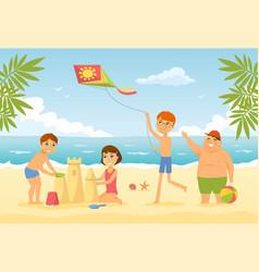 happy children on beach - cartoon people vector image