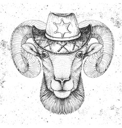 Hipster animal ram or mouflon with sheriffs hat vector