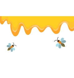Honey and bee background banner Honey flows bees vector image
