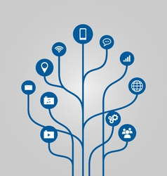 Icon tree communication and technology concept vector