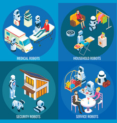 isometric medical home and service robots vector image
