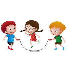 Kids playing jump rope vector