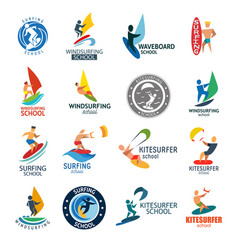 kite surfing windserfing water sport club logo vector image