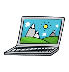 Laptop Cute doodle sketch isolated on white vector