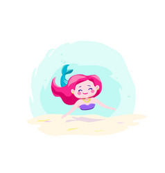 Little cute mermaid swimming under water vector
