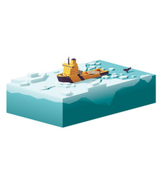 low poly icebreaker breaking the ice vector image