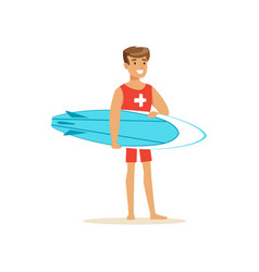 Male lifeguard in red shorts with surfboard vector