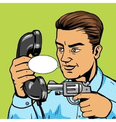 Man aim gun to handset pop art vector