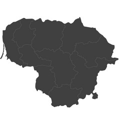 Map of lithuania split into regions vector