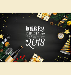 merry christmas 2018 card with black and gold vector image