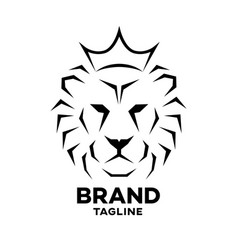 modern crowned lion logo vector image