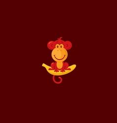 Monkey sitting on a banana vector