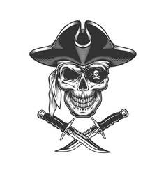 monochrome pirate skull vector image