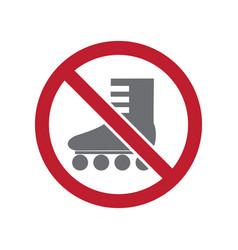 No roller skate allowed sign on white background vector