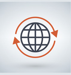 orange arrows around planet earth globe isolated vector image