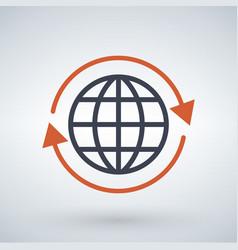 orange arrows around planet earth globe isolated vector image