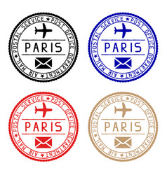 paris mail stamps colored set of round impress vector image
