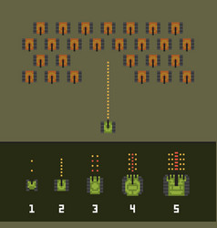 pixel art style war and tank game upgrades vector image