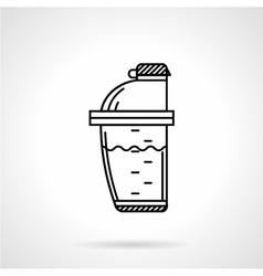 Protein shaker black line icon vector