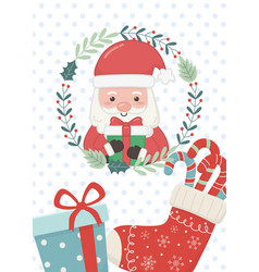 santa wreath sock and gift merry christmas card vector image
