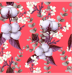 seamless pattern with cotton flowers eucalyptus vector image