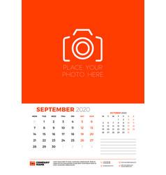 September 2020 wall calendar planner template vector