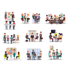 set business meeting in cartoon style flat vector image