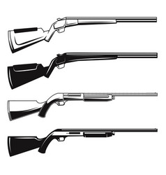 Set hunting guns and rifles design element vector