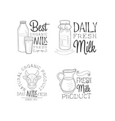 set of logos for fresh dairy products vector image