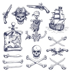 Set of vintage hand drawn pirates designed vector