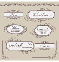 Set of vintage labels frames borders vector image