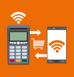 Shopping in the smartphone technology and vector