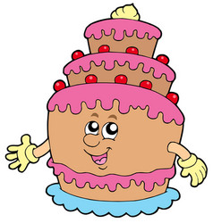 smiling cartoon cake vector image