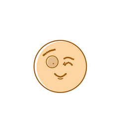 Smiling cartoon face winking positive people vector