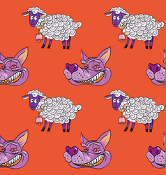 Smiling wolf face and nice lamb seamless pattern vector
