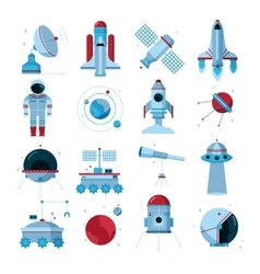 Spacecrafts Instruments Equipment Flat Icons Set vector