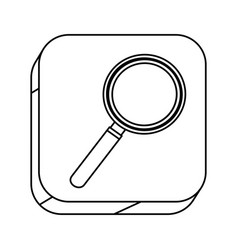 Square silhouette button with contour magnifying vector