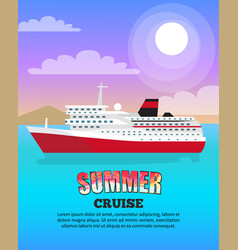 Summer cruise poster depicting large liner vector