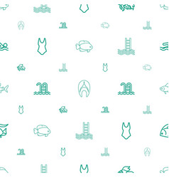 Swimming icons pattern seamless white background vector