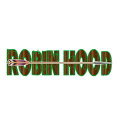 Text robin hood with longbow arrow vector