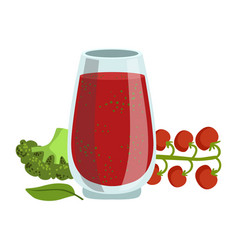 Tomato and broccoli smoothie non-alcoholic fresh vector