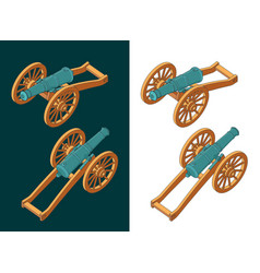 Vintage cannon isometric color drawings vector